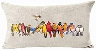 (D) - Oil Painting Various Birds Stand On Tree Branch Lumbar Pillow Decorative Cotton Linen Throw Pillow Case Cushion Cove...