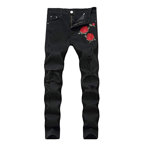 Men's Hip Hop Jeans Stretch Slim Fit Trendy Embroidered Printed Mid-Waist Hole Straight Fit Comfort Jean 42