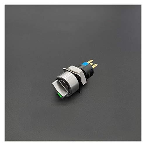 Kfdzsw Giratorio Interruptor 1 unids 12 mm 2 Posición 3 Posición 3V 6V 12V 24V 220V Interruptor de Mando de Metal Flecha con Ligero Auto-Bloqueo/encierro Giratorio
