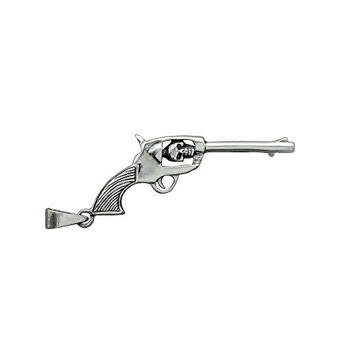 Beldiamo 6 g 925 Sterling Silber Geschnitzt Revolver Pistole Pistole Schädel Anhänger inspiriert von Fluch der Karibik Filme Geschenk Schmuck