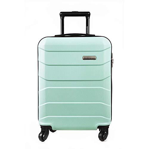 Sommerson Handgepäck Basic M - 4-Rollen Hartschalen-Koffer Trolley Rollkoffer Reisekoffer aus hochwertigem ABS Kunststoff, 55x40x20 cm, Zahlenschloss, 34 L (Mint)