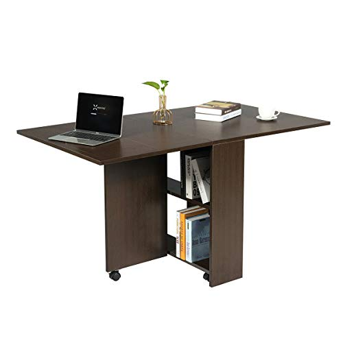 Giantex Folding Dining Table, Drop Leaf Extendable Multifunction Table, Expandable Table with 2 Storage Racks, Movable Dinner Table with 6 Wheels