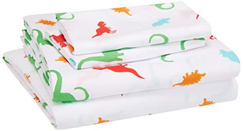 AmazonBasics Kid's Sheet Set - Soft, Easy-Wash Lightweight Microfiber - Full, Multi-Color Dinosaurs