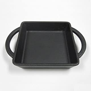 """Cast Iron Square Cookware Dish with Handles, 10.50 oz - BLACK - 4 ¾"""", 1""""; 7"""" w/Handles – Oven, Grill, Stovetop & Induction..."""