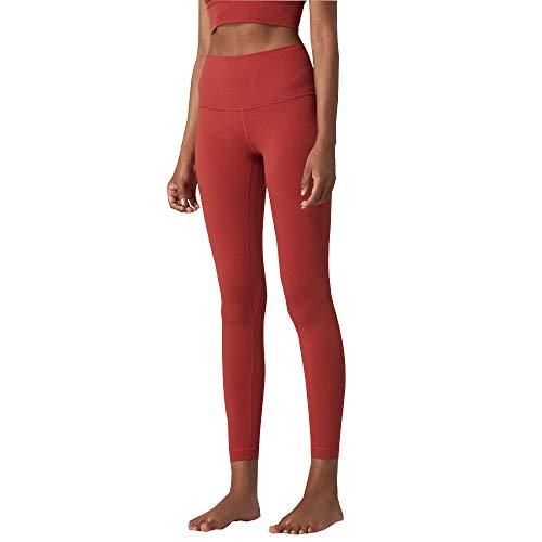 CMZ Skinny Nude Fitness Pants Mujeres Cintura Alta Cadera Nalgas Leggings Ajustados Pantalones de Yoga Brocado de Doble Cara (Rojo)