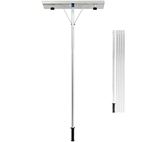GYMAX Extendable Aluminum Snow Rake, 5'-20' Scratch Free Snow Rake with 26' Blade, 5-Section Tubes & Soft TPE Anti-Skid Design Handle, Suitable for Removing Snow, Wet Leaves, Dribs (Silver)