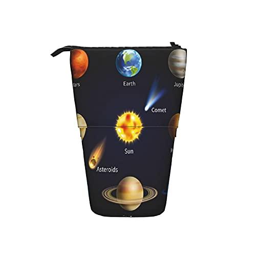 Astuccio telescopico Astuccio per cancelleria,Educativo Realistico Sistema Solare Pianeti E,Supporto per matite Stand Up Astuccio per cosmetici con cerniera per l ufficio del college scolastico