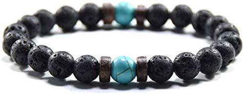 JPSOUP Pulsera de Piedra Mujer, 7 Chakra Piedra Natural Bañol de Color Turquesa Brazalete Elástico Yoga Energía Lucky Pulsera Joyería de Moda para Damas Regalo de Pareja de Navidad