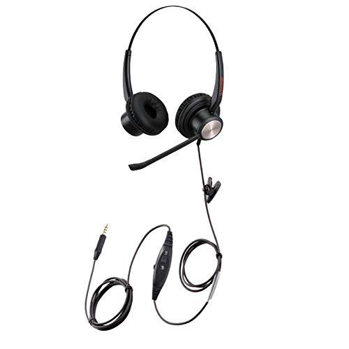 Handy-Headset mit Nosie Cancelling Voice Dictation Mikrofon Mono 3,5 mm Klinke Headset mit Mikrofon Stummschaltung Lautstärkeregler für Handys Apple iPhone Huawei BlackBerry Android