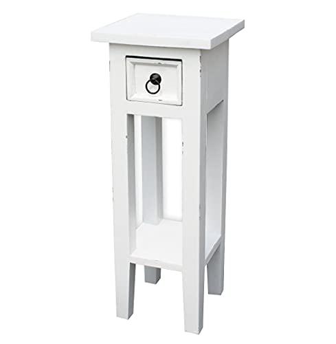 LioLiving®, Orkney 400016 - Mesa para teléfono (aspecto vintage, madera de caoba, color blanco)