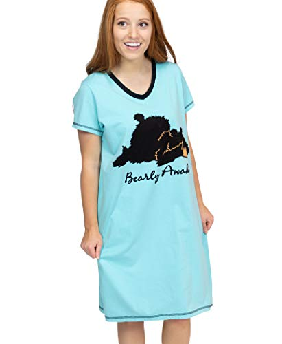 Lazy One V-Neck Nightshirts for Women, Animal Designs, Tired, Not A Morning Person (Bearly Awake, L/XL)