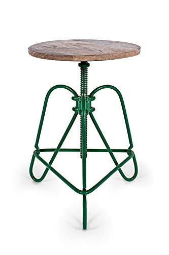 Hairpin 101 – Grün, Handmade Industrie-Design Drehstuhl Hocker aus Metall mit Holzsitz, ideal für Küche Wohnzimmer Büro oder den Coffee Shop, höhenverstellbar zum Barhocker oder als Beistelltisch