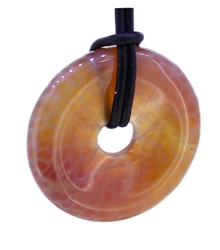 budawi® - Feuerachat Donut Anhänger 30 mm mit Lederband, Feuerachatanhänger