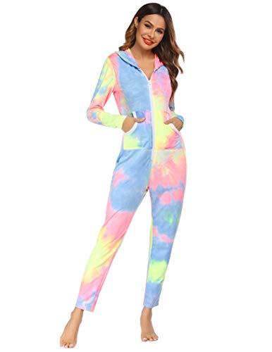 Ekouaer Zipped One Piece Thermal Underwears Romper Hooded Jumpsuit Sleepwear for Women (A-Tie-dye2, Large)