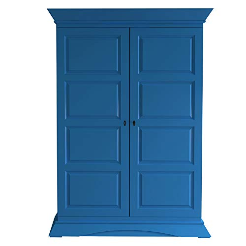 lifestyle4living Dielenschrank in extravagantem blau, Schrank aus massiver Fichte mit viel Stauraum, 140 cm
