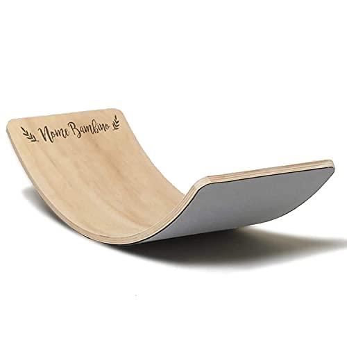 Balance Board Montessori Personalizzabile con nome bambino + feltro Tavola Curva in Legno 80x30 cm Equilibrio Tavoletta...