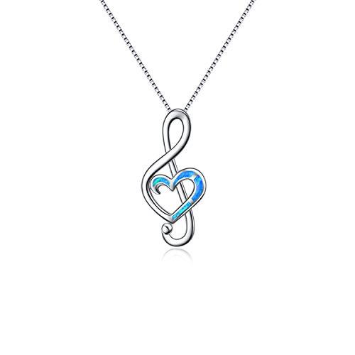 WINNICACA Musik Note Halskette Sterling Silber Halskette Blauer Opal Halsketten Geschenke für Frauen Mädchen