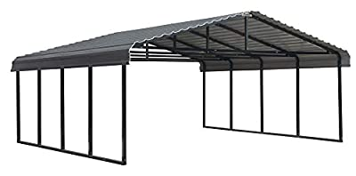 Arrow 20' x 20' 29-Gauge Metal Carport with Steel Roof Panels, 20' x 20', Charcoal