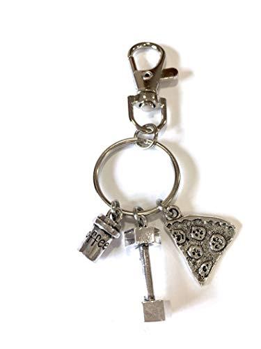 Silver Knight Schlüsselanhänger, Pizza, Kaffee, Kohlenhydrate, Hantel, Motivation, Fitness-Schlüsselanhänger, in einem Samtbeutel