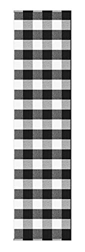 Buffalo Plaid Check Runner Rug: 2x8 Farmhouse Black and White Checkered Long Hallway Floor Runners | Woven Cotton Washable Outdoor Rugs | Carpet Runners Best for Kitchen, Entryway, Laundry Mat Rug