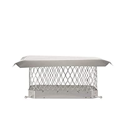 """HY-C SPSS913 ShelterPro Bolt On Single Flue Chimney Cover, Fits Outside Existing Clay Flue Tile Dimensions 9"""" x 13"""", Stainless Steel"""