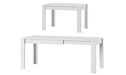 MPS praktisch Tisch SYRIUS 120-190 x 80 x 76 cm (L x B x H) im Weiß Matt für Esszimmer, 4-8 Personen Esstisch mit ausziehbarer Tischplatte auf 190 cm, ausziehbar Küchentisch, Esszimmertisch,