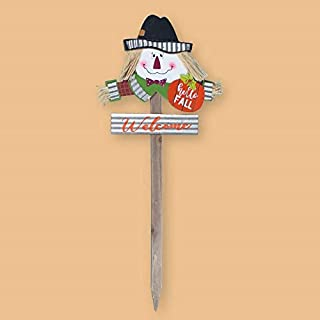 Dobar Wood & Metal Scarecrow Garden Stake with Welcome Sign - 32