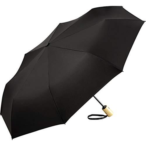ÖkoBrella nachhaltiger Bambus-Taschenschirm ökologischer Regenschirm; Bezug aus recycelten Kunststoffen; Doppelautomatik (öffnen/schließen); Oeko-TEX® 100; Stabiler Bambus-Griff; Windsicher (Schwarz)