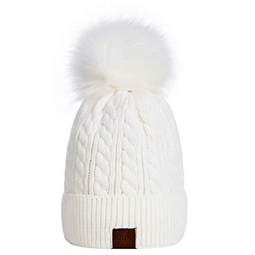 Alepo Womens Winter Beanie Hat, Warm Fleece Lined Knitted Soft Ski Cuff Cap with Pom Pom(White)