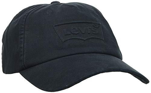 Levi's Washed Debossed Big Batwing Cap Orejeras, Negro, Talla única Unisex Adulto