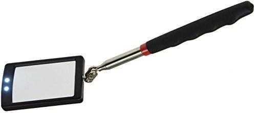 Teleskop Spiegel Werkzeug mit LED Beleuchtung I Ausziehbar 28-88cm I Handspiegel mit Softgriff I Schwenkbar