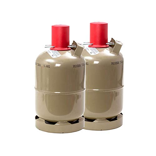 CAGO 2 x 5 kg Gasflasche Propangas, ungefüllt Neu Grillgas Flüssiggas Campinggas