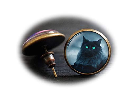 Los pendientes de gato negro, gato negro con ojos azules pendientes