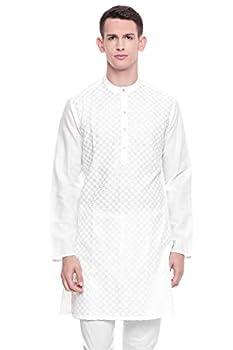 In-Sattva Men s Indian Mandarin Collar Handcrafted Fine Embroidered Kurta Tunic  Square White  MD