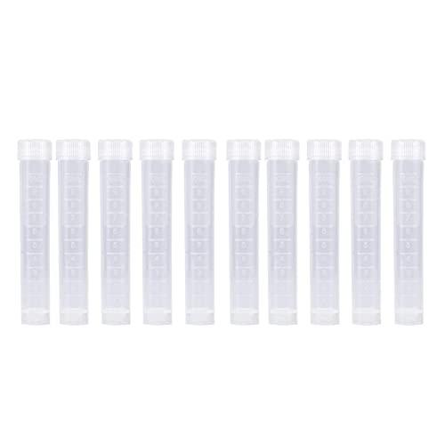 10 tubos de ensayo congelados de plástico de laboratorio de 10 ml, recipiente con tapa de sello de vial, tubos de ensayo de plástico plano transparente con tapones de rosca, para laboratorio