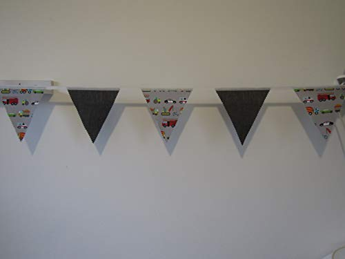 Vehicle/Transport bunting, boys grey bedroom bunting, car, tractor, ambulance, police, scooter, fire, jcb,truck, cement mixer