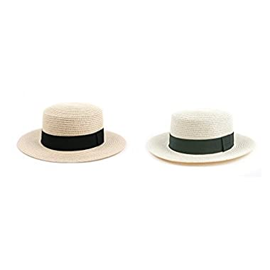 Pop Fashionwear Fashion Panama Straw Boater Hat 510SF (2 pcs Natural & OffWhite)