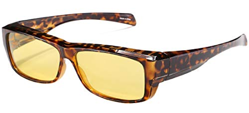 CAXMAN Night Driving Glasses HD Night Vision Fit Over Prescription Glasses Polarized Nighttime Driving Glasses for Men Women Yellow Tinted Lens Small Size Tortoise Rectangle