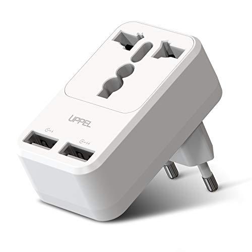 Milool Cargador Rapido Móvil, Adaptador Enchufe de Viaje Universal Cargador Enchufe USB con Dos Puertos USB(2.4A) para Europa,Enchufe deste UK/DE/CN//Asia/US/EU/AU Más Países a EU (Blanco)