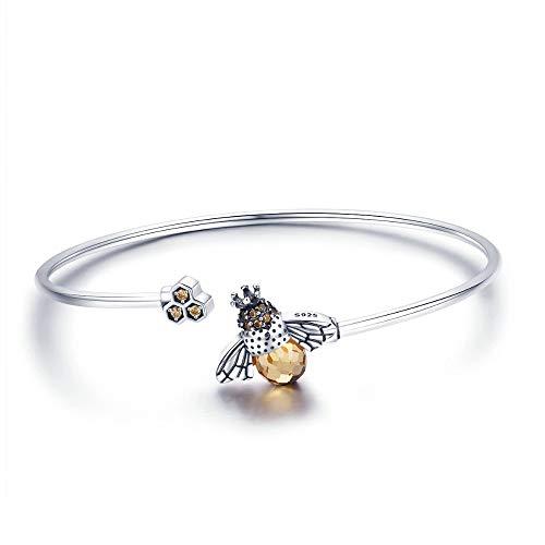 Inveroo Pulseras y brazaletes de Mujer de Abeja de Cristal de Plata de Ley 925 para Mujer, joyería de Plata 925 de Pulseira