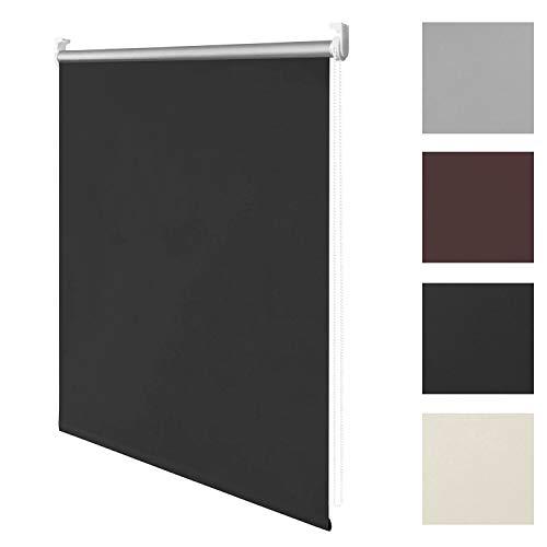 wolketon Thermo-Rollo, 90 cm x 160 cm (B x L) in Schwarz, ohne Bohren, Sonnen-, Sicht-, Hitze- & Kälte-Schutz,reflektierende Thermofunktion, Klemmfix für Fenster & Türen