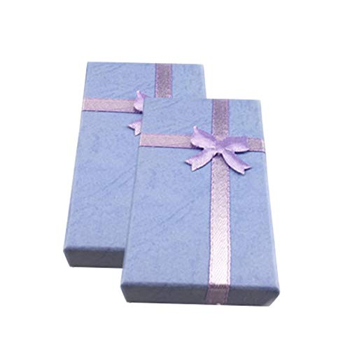 JUNGEN 2PCS Coffret à Bijoux en Carton Saint Valentin Cadeau Emballage Boîte à Collier noeud ruban Boîte de rangement pour Boucles d'oreilles Bracelet Anneau Collier 8cm (Violet)