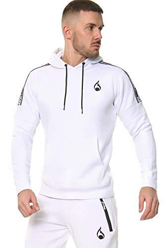 Mens Full Tracksuit Set Fleece Hoodie Joggers UK Slim Fit Sizes XS-3XL (White, Medium)