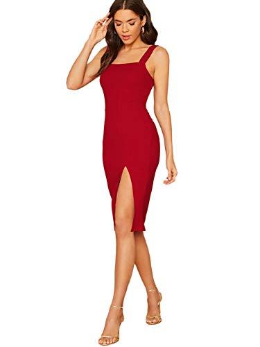 DIDK Damen Bodycon Kleid Trägerkleid mit Schlitz Partykleid Einfarbig Freizeitkleid Abendkleid Kurzkleid Rot M