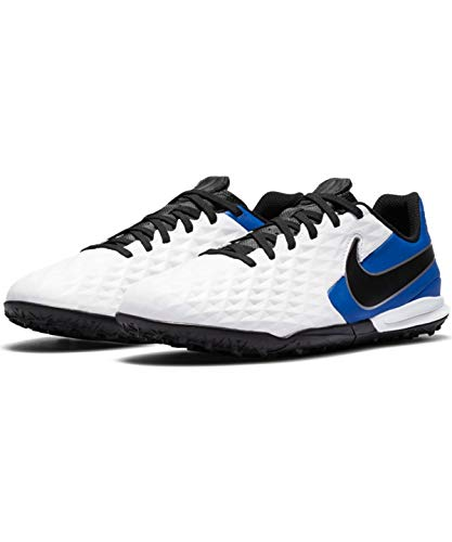 Nike Jr. Legend 8 Academy TF, Football Shoe Unisex-Child, White/Black-Hyper Royal-Metallic Silver, 33.5 EU