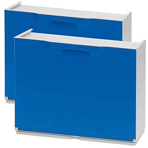 Wellhome UNIKA Pack de 2 zapateros en Polipropileno Color Azul, 40,1x51x17,3 cms. c/u