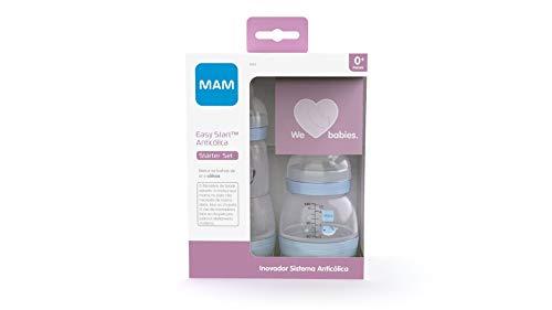 Kit de mamadeiras Easy Starter set – Azul (O Starter Set é recomendado a partir de 0 meses de idade). Auto esterilizável em 3 minutos, MAM, Azul Oceano