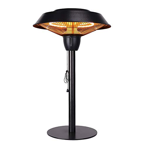 Star Patio Outdoor Freestanding Electric Patio Heater, Tabletop Heater, Infrared Heater, Hammered Bronze Finished, Portable Heater Suitable as a Balcony Heater, 1566-CT
