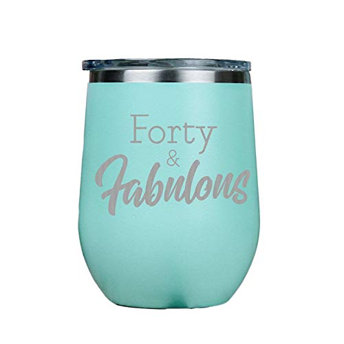 Forty and Fabulous – Vaso aislado de vino de acero inoxidable sin tallos con tapa transparente de 12 onzas, incluye tarjeta de emparejamiento, 12 onzas