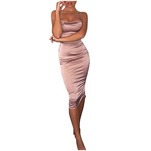 YANFANG Vestido Ajustado Mujer, Vestido Atractivo del Abrigo de la Cadera de la Banda Delgada de la Espalda Abierta del Color sólido de la Moda de Las Mujeres, M,Pink
